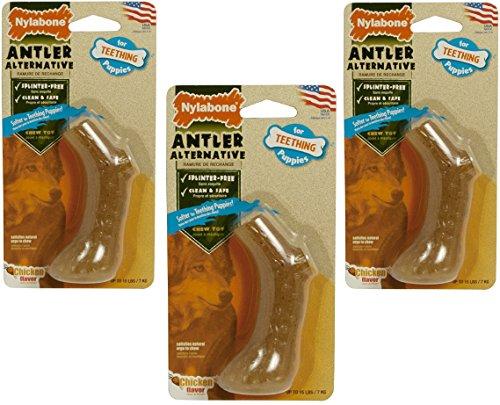 (3 Pack) Nylabone Puppy Antler Alternative Chicken...