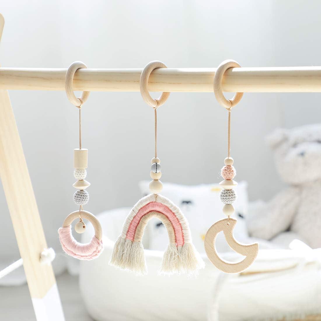 let's make 3pc Rainbow Baby Juego de Madera Juguetes de Gimnasio Colgante de Borla Tejida a Mano Baby Shower Gift (Muchacha Rosada)