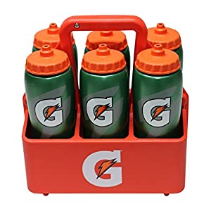 Gatorade Carrier/Bottles Set- Includes 6 - 32 Oz Gatorade Squeeze Water Bottles