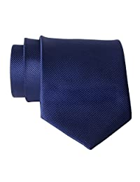 New Polyester Textile High Quality Men's Neckties Navy Blue Solid Color Neck Tie