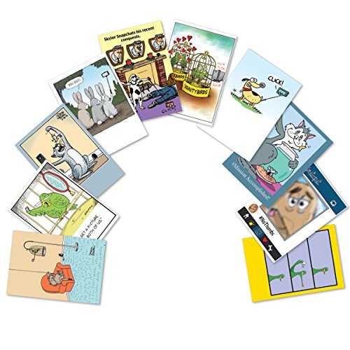 A2747BDG PET SELFIES: Assorted Box Of 10 Hilarious Birthday Cards, W/12 Envelopes (10 Designs, 1 Card Per Design)