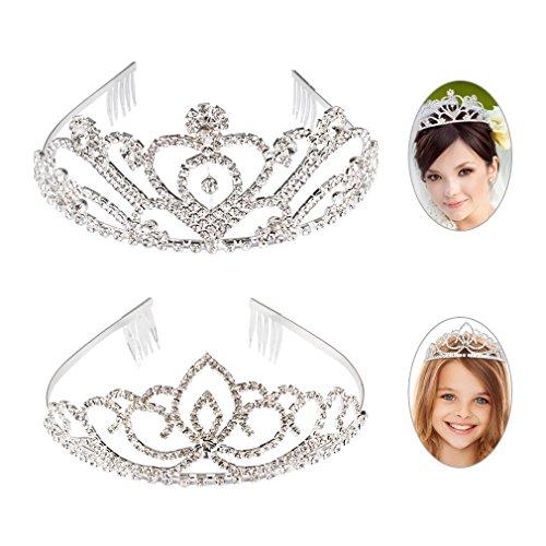 Exacoo Pack of 2 Rhinestone Tiara Crown Exquisite Headband Comb Pin Wedding Bridal Birthday Tiaras -