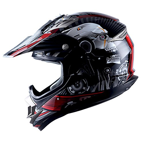 Adult Motocross Helmet Off Road MX BMX ATV Dirt Bike Mechanic Skull Red