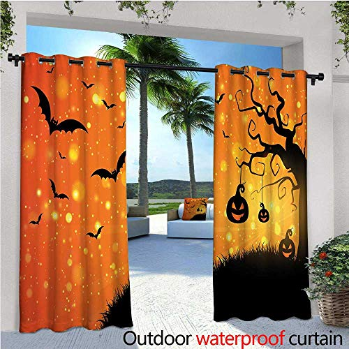 cobeDecor Halloween Exterior/Outside Curtains Magical Fantastic Evil Night Icons Swirled Branches Haunted Forest Hill for Patio Light Block Heat Out Water Proof Drape W72 x L84 Orange Yellow Black