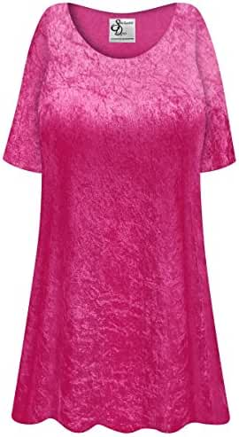 Hot Pink Crush Velvet Plus Size Supersize Extra Long A-Line Top