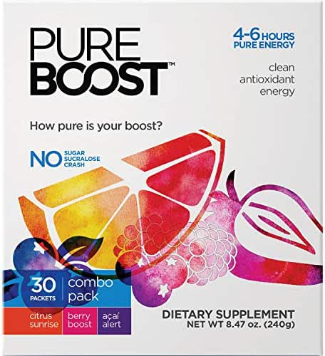 Pureboost Clean Energy Drink Mix. No Sugar, No Sucralose. Healthy Energy Loaded with B12, Antioxidants, 25 Vitamins, Electrolytes. (Combo Pack, 30 Count)