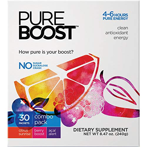 Pureboost Clean Antioxidant Healthy Energy Drink Mix. Powerful 4-6 Hour Boost. No Sugar or Sucralose. with B12, 25 Micronutrients, Electrolytes. (Combo Pack, 30 Count)