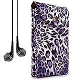 VanGoddy Women's Purple Leopard Carrying Bag Case for ZTE Grand X Max+/Imperial II/S Pro/Speed + VanGoddy Headphones
