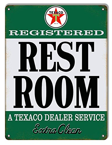 Victory Vintage Home - Victory Vintage Signs Aged Looking Texaco Extra Clean Restroom Gas Station Sign 9X12