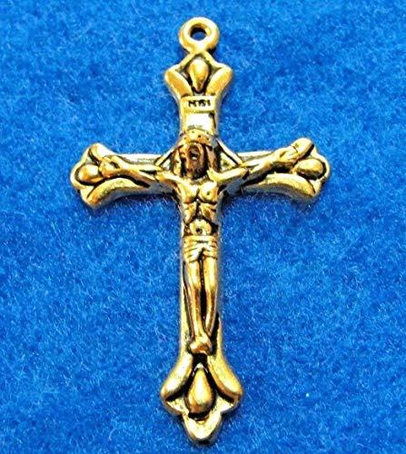 - 10Pcs. Tibetan Light Antique Gold 3D Crucifix Cross Pendants Findings