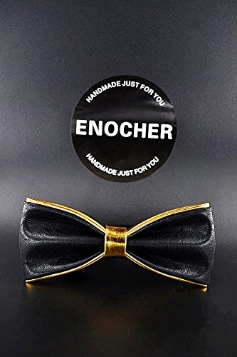Gold Edge PU Leather Bow Ties, Men Bow Tie, Self Tie Bow Tie, Bow Tie For Men, Gentleman, Business, Wedding, Party, Gift, Fashion, High-end, Cool
