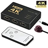HDMI Switch 4K, GANA Intelligent 3-Port HDMI Switcher, Splitter, Supports 4K, Full HD1080p, 3D with IR Remote