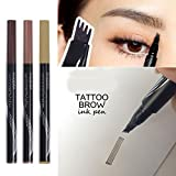 Ownest Liquid Tattoo Eyebrow Pen With Four Tips Brow Pen, Long-lasting Waterproof Brow Gel for Eyes Makeup-BLACK/BROWN