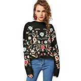 Dezzal Women's Casual Round Neck Floral Embroidered Oversize Pullover Sweater (L)