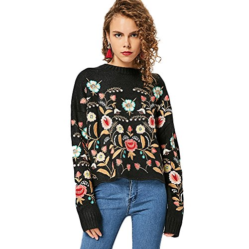 DEZZAL Women's Casual Round Neck Floral Embroidered Oversize Pullover Sweater hot sale