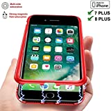 【TECHGLEE】Magnetic Adsorption Case for IPhone 7 Plus Clear Tempered Glass Back [Metal Frames] Full Body Slim Fit Ultra-Thin Case, Luxury Transparent Magnet Case IPhone 8 Plus Ultra Protect(Red Frame)
