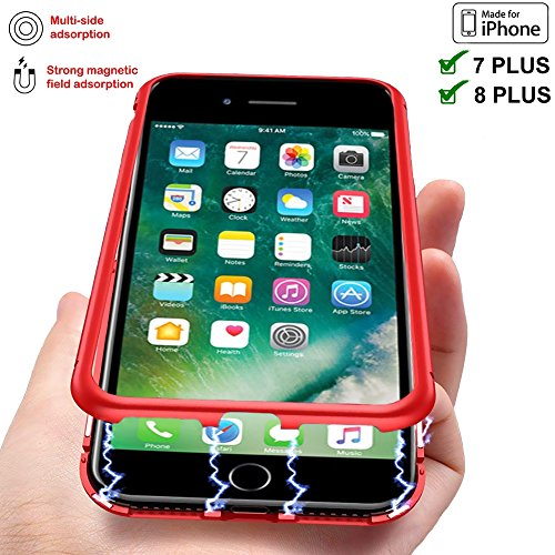 【TECHGLEE】Magnetic Adsorption Case for IPhone 7 Plus Clear Tempered Glass Back [Metal Frames] Full Body Slim Fit Ultra-Thin Case, Luxury Transparent Magnet Case IPhone 8 Plus Ultra Protect(Red Frame) by Techglee