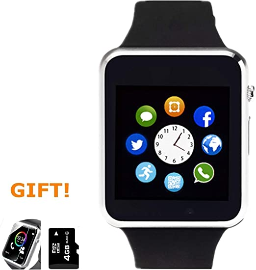 Smart Watch, Smartwatch with SD Card Pedometer Camera SIM Card Slot Music Player Compatible for iOS iPhone Partial Functions and Android Phone Samsung Huawei LG for Men Women Teens