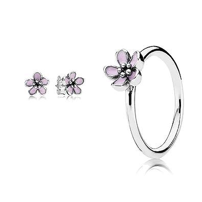 b0a04f23b Original Pandora gift set - 1 Pink Cherry Blossom Flower Ring 190879EN40-54  and 1 Pink Cherry Blossom Flower Stud Earrings 290537EN40: Amazon.co.uk: ...