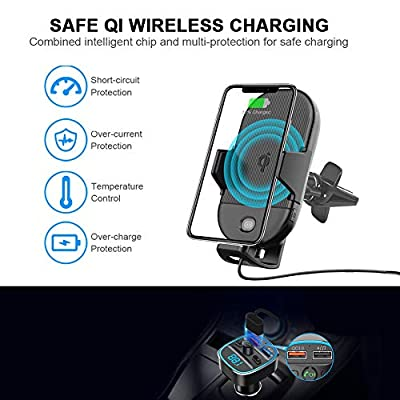 Lorima Cup Holder Phone Mount Wireless Charger, Max 15W Qi Wireless Car Charger Cup Phone Holder/Air Vent Phone Holder Compatible with iPhone, Samsung and Other Qi Smartphone