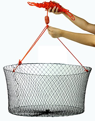 """Crabite Double Ring Wire Crab Hoop Pier Net Fishing Lobster Shrimp Trap with 50' Rope 23.6""""X19.7"""" Outside Diameter 11"""" Depth"""