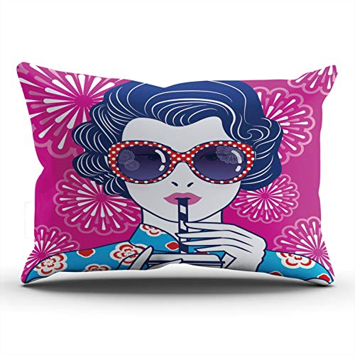 Fanaing Bedroom Custom Decor Retro Chinese Lady Drink with a Straw on Fireworks Pillowcase Soft Zippered Throw Pillow Cover Cushion Case One Sided Printed Lumbar 12x24 Inches