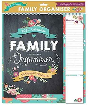 2017Familia Organizador Calendario de planificación lista de la compra-Cuaderno Y Bolígrafo, diseño de flores, color negro