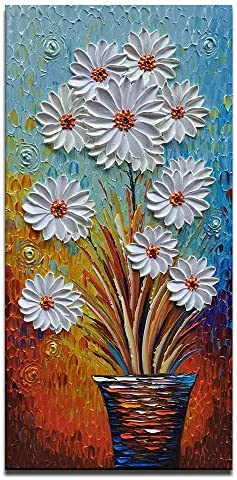 White Daisy Oil Painting Vertical Artwork for Walls Textured Wall Pictures Contemporary Art Modern Wall Painting Home Decoration Framed Canvas Wall Art for Living Room Office Dinning Room 20X40 inch