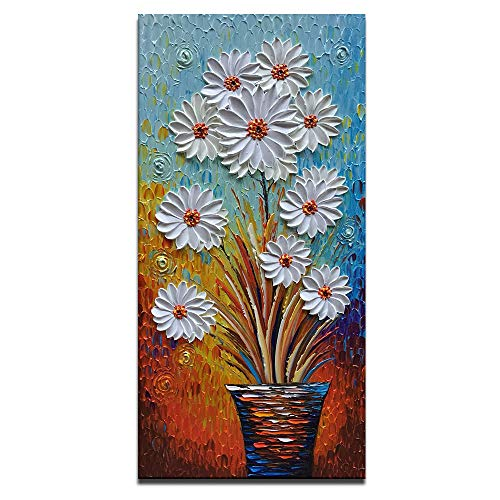 White Daisy Oil Painting Vertical Artwork for Walls Textured Wall Pictures Contemporary Art Modern Wall Painting Home Decoration Framed Canvas Wall Art for Living Room Office Dinning Room(20X40 inch)