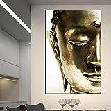 ARTLAND Golden Buddha Head Print on Canvas Wall Art Faith