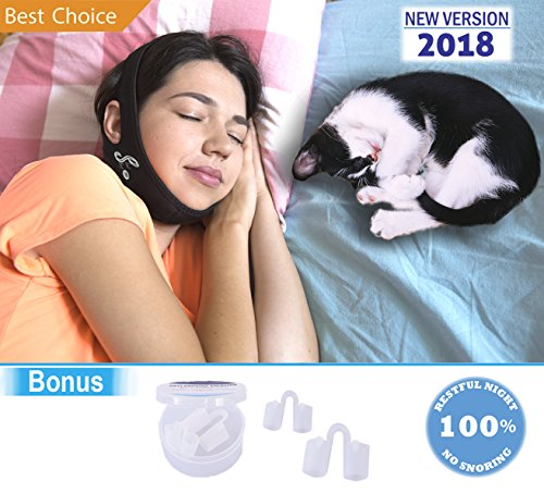 Anti Snoring Chin Strap + 4 Nose Vents Aids - Snore Solution -Unisex -FDA Approved