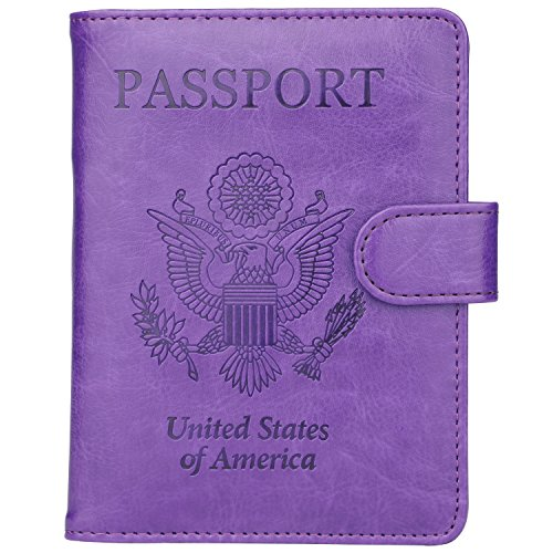 GDTK Leather Passport Holder Cover Case RFID Blocking Travel Wallet (Purple #2)