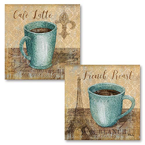 - Gango Home Décor Popular Classic Coffee Paris French Roast and Fleur De Lis Cafe Latte; Kitchen Decor; Two 12x12in Poster Prints. Teal/Brown