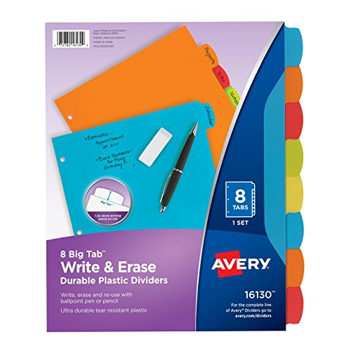 Avery Big Tab Write & Erase Durable Plastic Dividers, 8 Multicolor Tabs, 1 Set - 8 Tab Pack