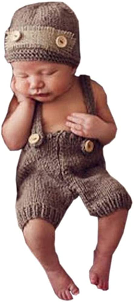 Dalai Newborn Baby Knitted Costume Outfits Photography Props Hat Suspenders