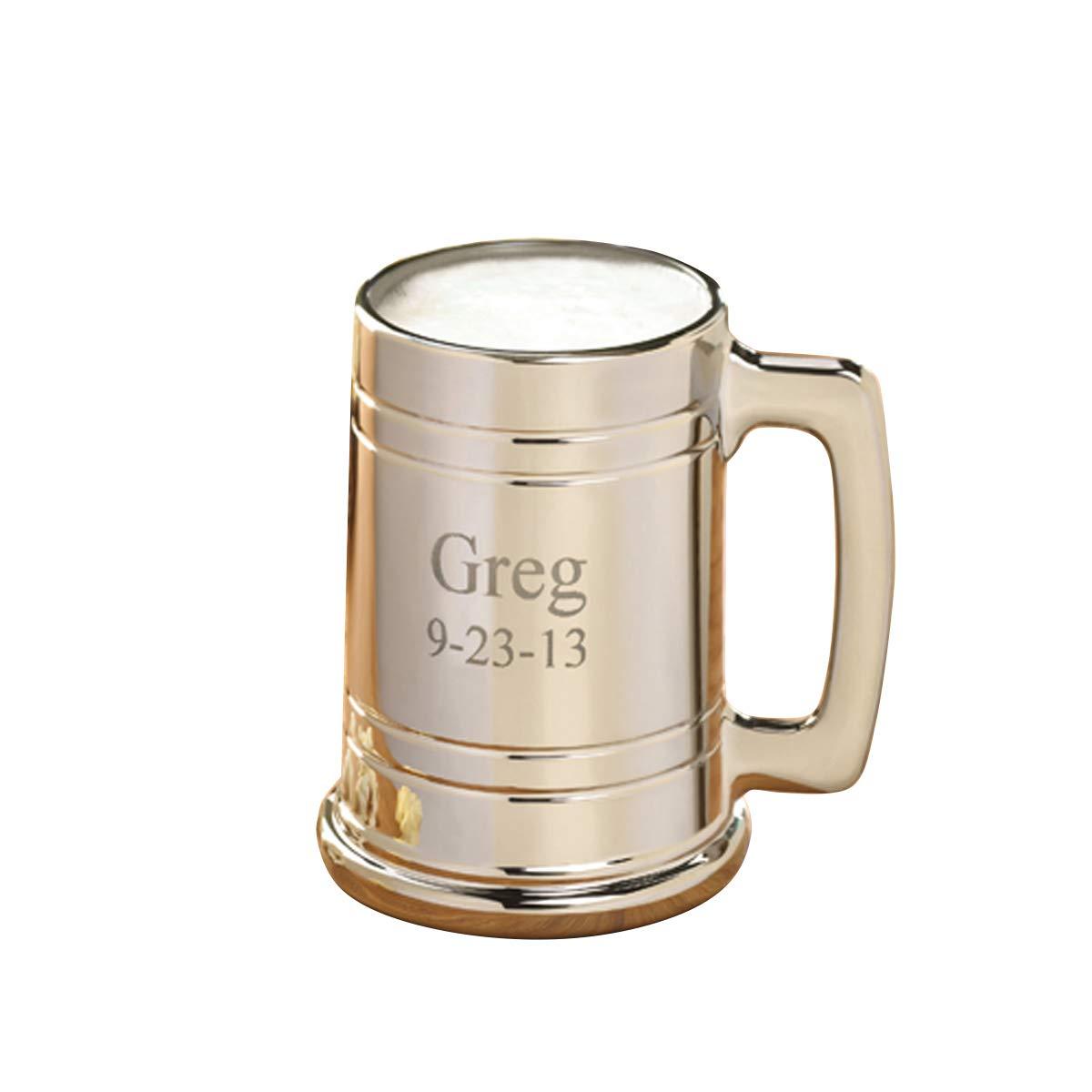 Personalized Gunmetal Beer Mug - Engraved Beer Mug - Groomsmen Beer Mug JDS AZ827