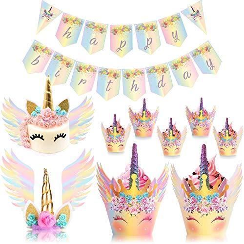(UnicornLifestyle Unicorn Cake Topper with Eyelashes Rainbow |30 Pack| 24pcs Unicorn Cupcake Topper, Birthday Banner | Unicorn Cake Wings | Baby Shower, Kids Unicorn Party Supplies, Bridal Wedding)