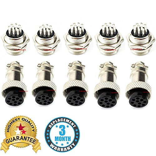 Aviation Connector Plug, 5PCS 10 Pin 16MM Thread Female Socket Panel Metal Aviation Wire Connector 5A + 5PCS 10 Pin 16MM Thread Male Socket Panel Metal Aviation Wire Connector 5A, Sold By Lsgoodcare