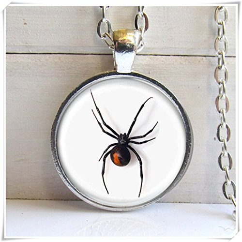 Black Widow Spider Pendant, Necklace, spider Jewelry, Dome glass jewelry, pure handmade -