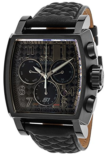 Invicta Men's Jason Taylor Stainless Steel Swiss-Quartz Watch with Leather Calfskin Strap, Black, 26 (Model: 22382BWB