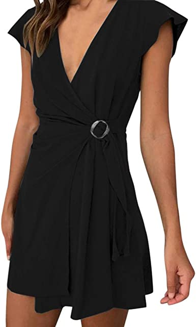 Women V Neck Button Roll Up Sleeves Plain Color Casual Summer Dress with Belt