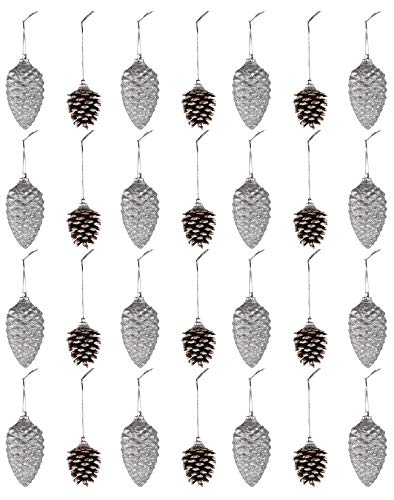 Mini Pine Cone Ornaments - 28-Pack Christmas Tree Pinecone Ornaments, 2-Finish Decor with String, Glitter Silver and Rustic Natural with Snow Design, Small Winter Holiday Festive Hanging Decoration