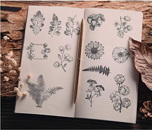 Cliocoo 11pcs Plants and Flowers Rubber Stamp Set M-60 2-Cotton Flower