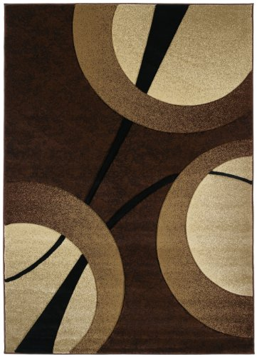 - United Weavers Contours Collection Zaga 7-Feet 10-Inch by 10-Feet 6-Inch Heavyweight Heatset Olefin Rug, Chocolate