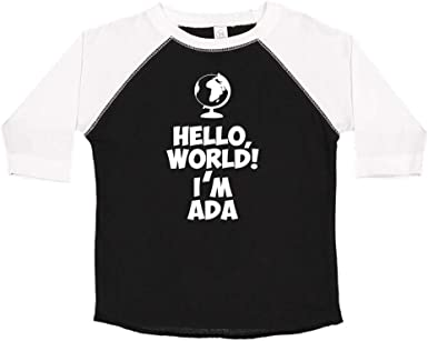 Mashed Clothing Hello Personalized Name Toddler//Kids Raglan T-Shirt My Name is Ada