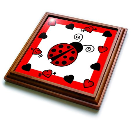 3dRose trv_12112_1 Love Bugs Red Ladybug with Hearts Trivet with Ceramic Tile, 8 by 8