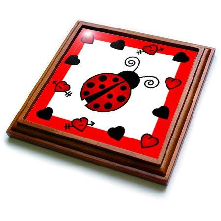 Ladybug Ceramic Tile (3dRose trv_12112_1 Love Bugs Red Ladybug with Hearts Trivet with Ceramic Tile, 8 by 8