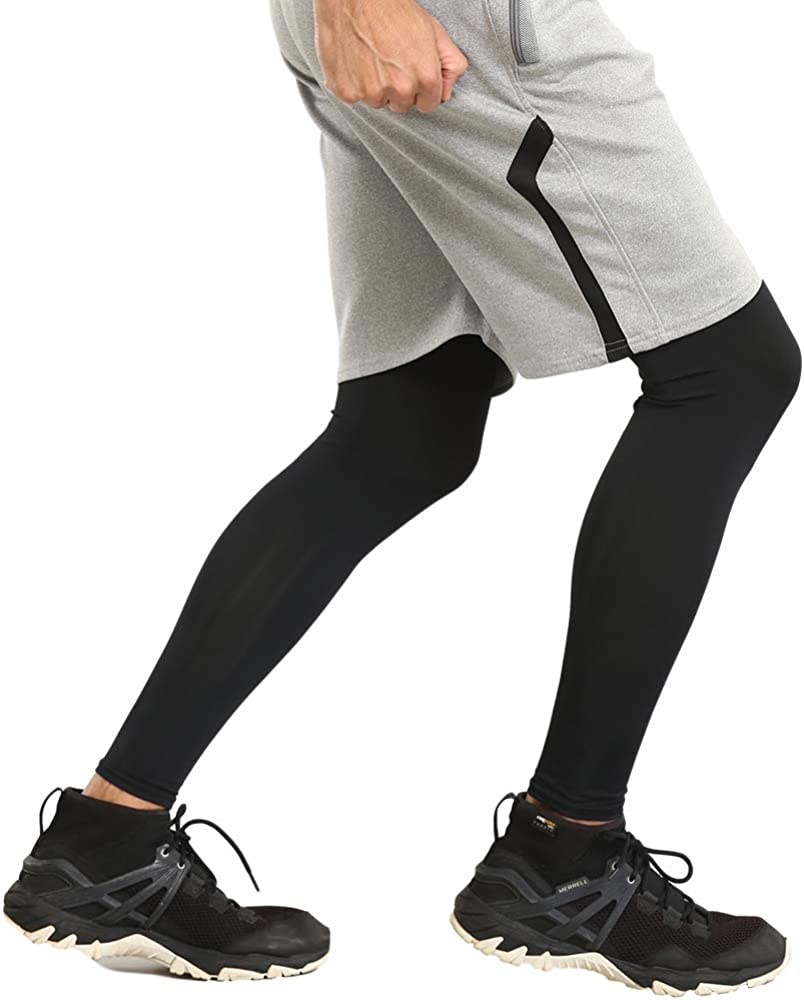 Women /& Youth UPF 50 UV Protection Full Length Long Leg Sleeves for Football Compression Leg Sleeves Basketball Leg Sleeves for Men Cycling /& Other Athletic Outdoor Sports Volleyball Running