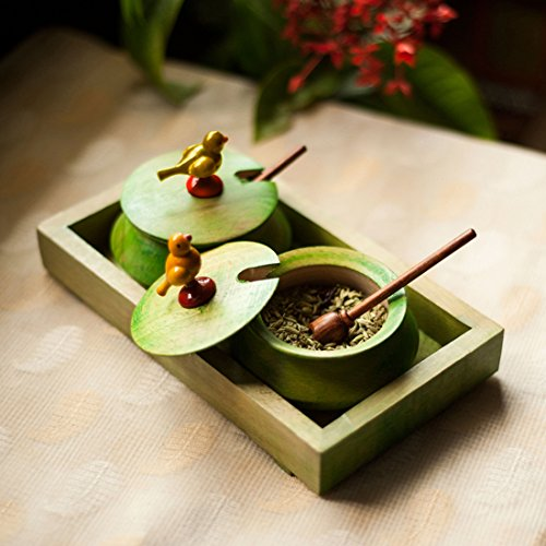 ExclusiveLane Wooden Parrot Jar Set With Tray & Spoon In Green -Condiment Containers Storage Containers Spice Jars Decorative Tray Jars With Lids Masala Dabba Ancient - Parrot Jar
