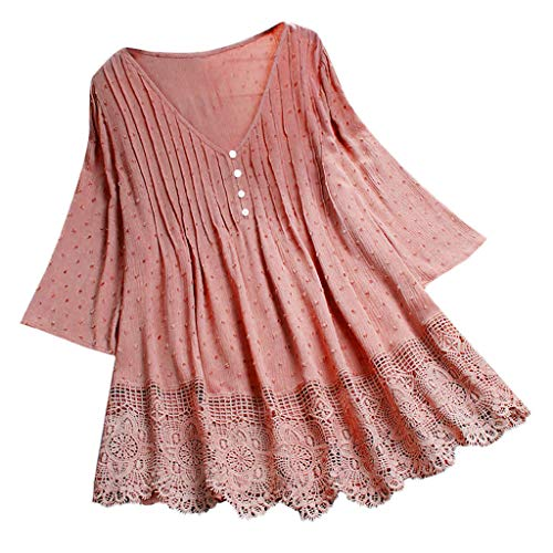 CCatyam Plus Size Blouses for Women, Lace V-Neck Print T-Shirt Top Solid Vintage Loose Fashion Pink
